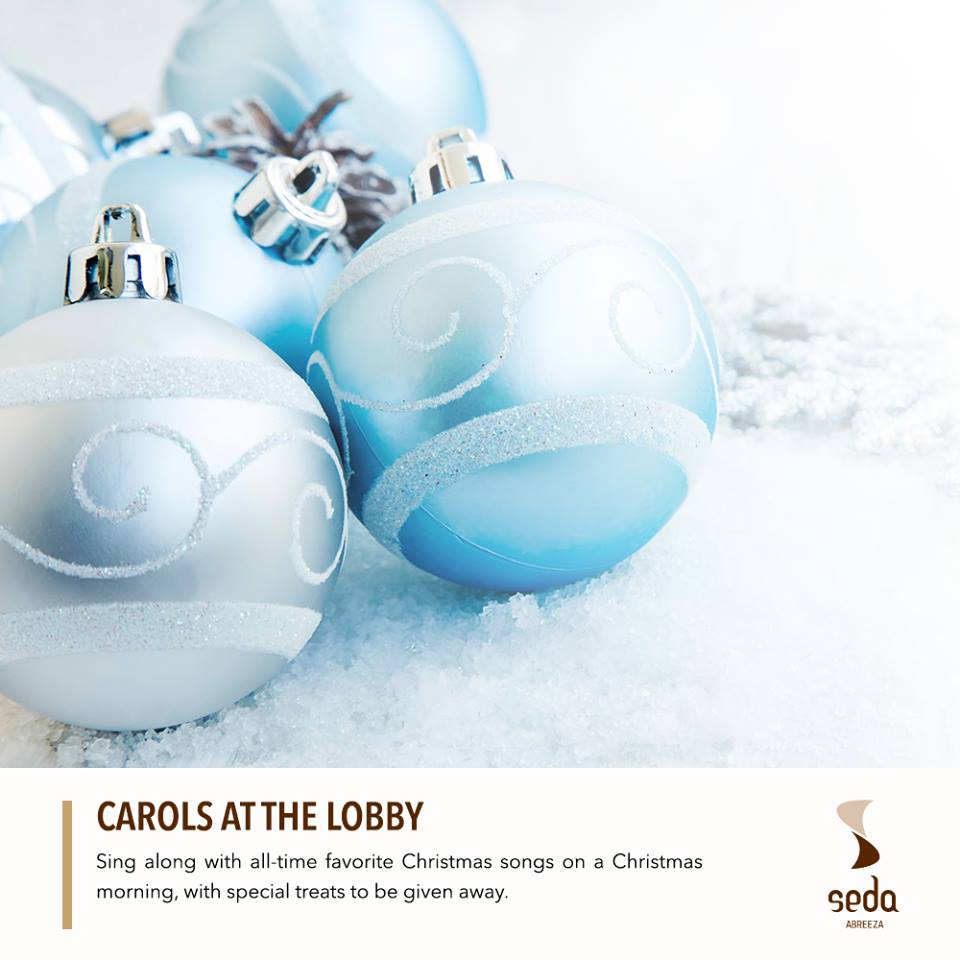 Hang out for cup of tea, a dip at the pool or have a quick staycation and catch Seda's fun Christmas carols at the lobby. Special treats await! Bring your kids too! :)